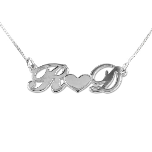 Initials Heart Sterling Silver Necklace
