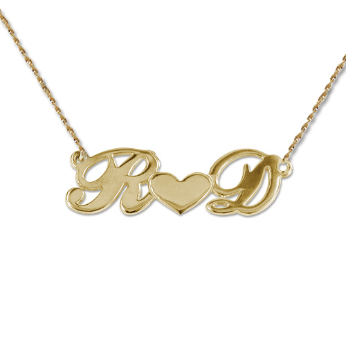 Initial Heart Gold Plated Necklace
