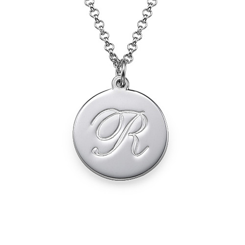 Initial Script Engraved Pendant Necklace Sterling Silver