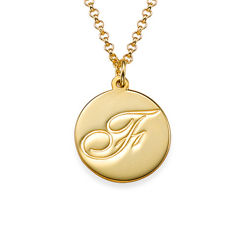 Initial Script Engraved Gold Plated Pendant Necklace