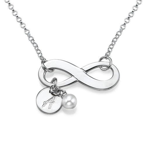 Infinity Initial Sterling Silver Necklace