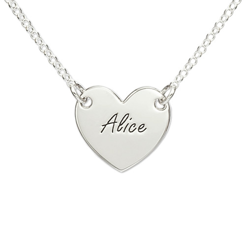 Heart Engraved Sterling Silver Necklace