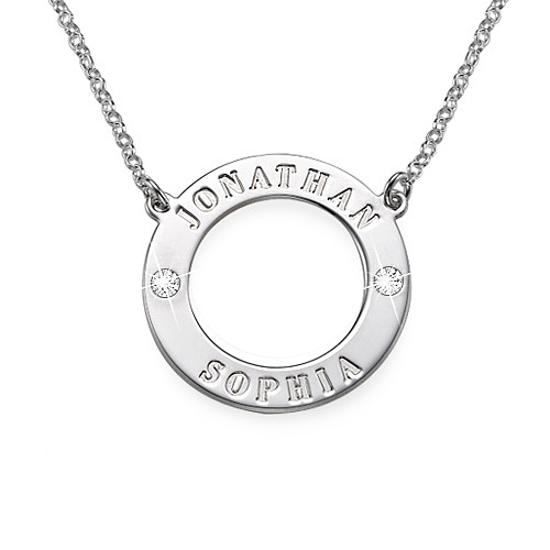 Karma Engraved Swarovski Sterling Silver Necklace