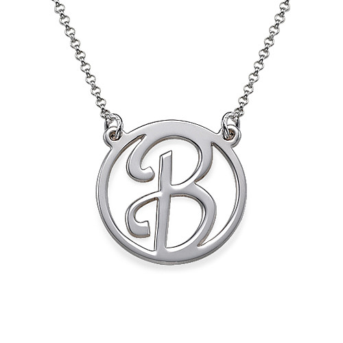 Cut Out Initial Sterling Silver Necklace