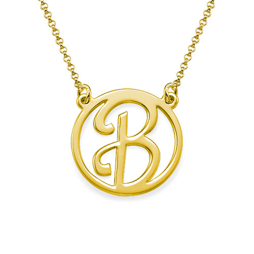 Cut Out Initial Gold Plated Necklace