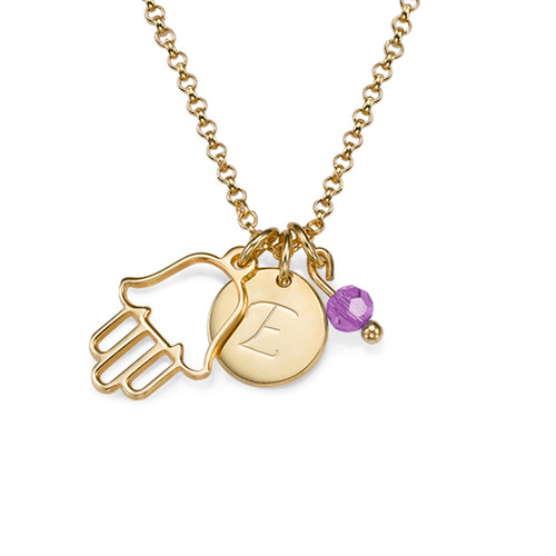 Hamsa, Initial& Birthstone Gold Plated Necklace