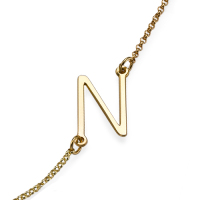 Sideways Initial Gold Plated Necklace