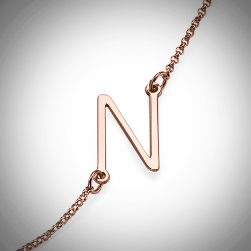 Sideways Initial Rose Gold Necklace