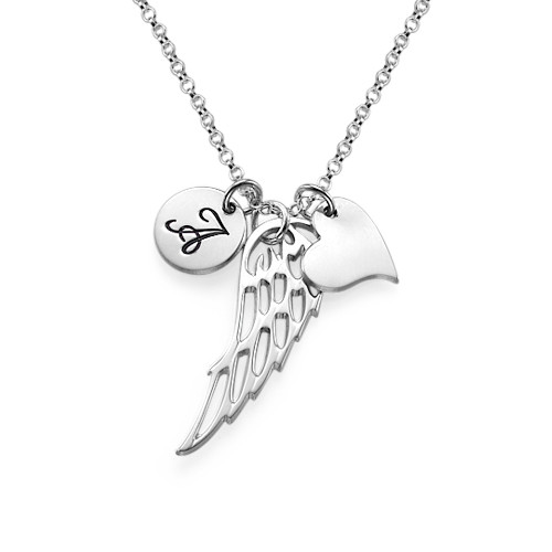 Angel Wing With Initial Pendant Necklace