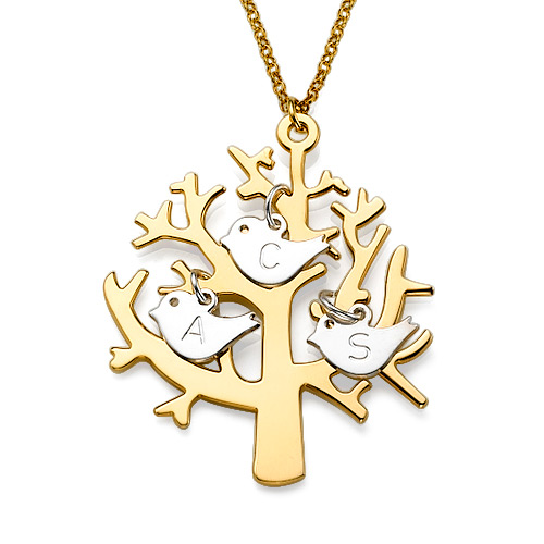 Family Tree Gold Plated With Silver Initials Necklace