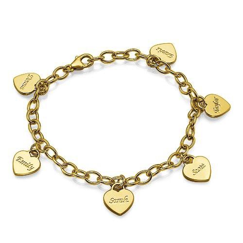 18k Gold Plated Heart Charm Bracelet