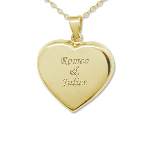 Engraved 18k Gold Plated Locket Necklace