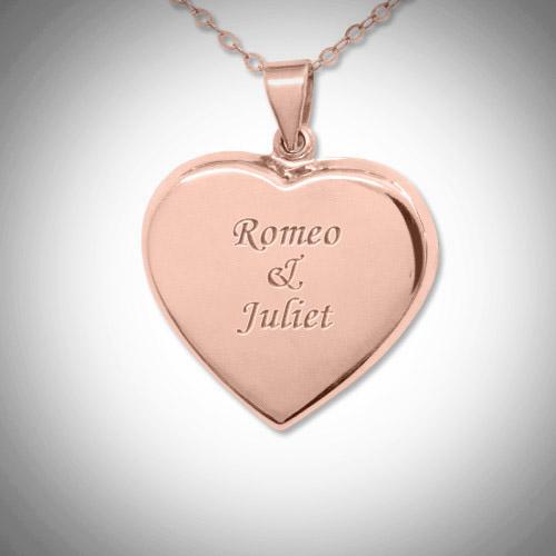 Engraved 18k Rose Gold Heart Locket Necklace