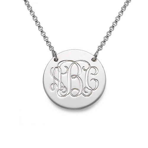Monogrammed Sterling Silver Disc Necklace