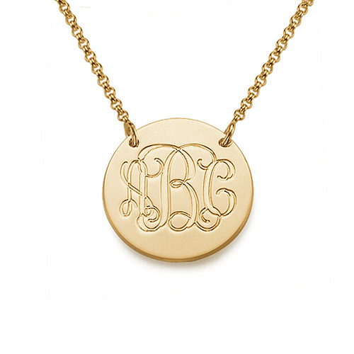 Monogrammed 18k Gold Plated Disc Necklace