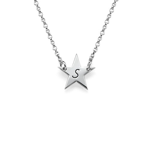 Star Initial Sterling Silver Necklace