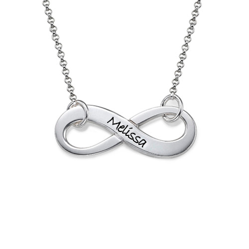 Engraved Sterling Silver Infinity Necklace