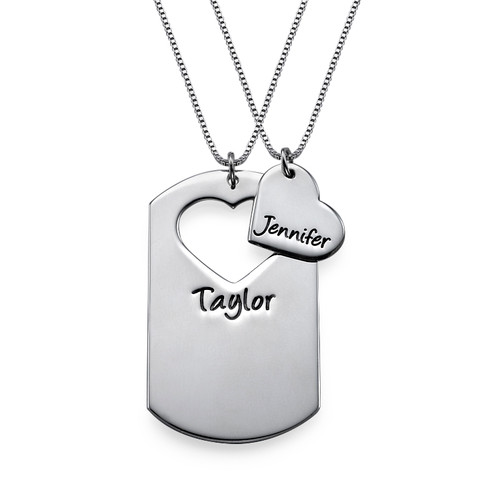 Sterling Silver Cut Out Heart& Dog Tag Set