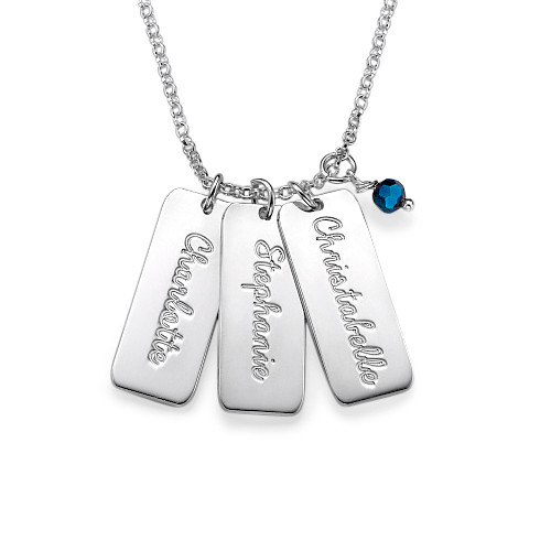 Sterling Silver Name Tag& Birthstone Necklace