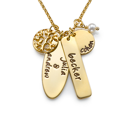Family Tree Charm 18k Gold Plated Necklace