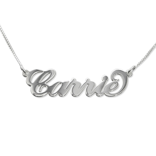 Nameplate Necklace 'Carrie Style' Sterling Silver