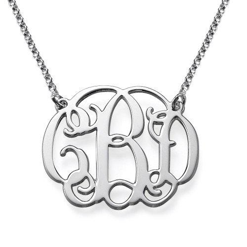 Small Monogrammed Necklace Sterling Silver