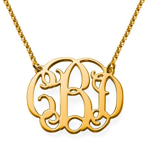 Small Monogrammed Necklace 18k Gold Plated