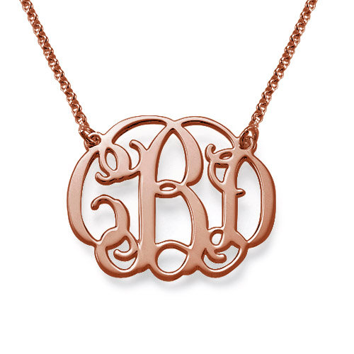 Small Monogrammed Necklace 18k Rose Gold Plated