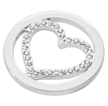 Silver Plated Cut Out CZ Heart Coin