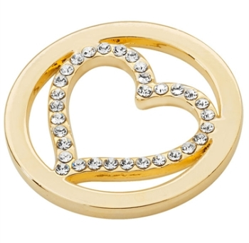 Gold Plated Cut Out CZ Heart Coin