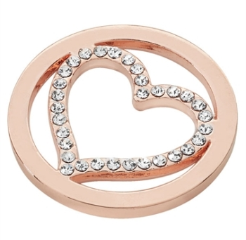 Rose Gold Plated Cut Out CZ Heart Coin