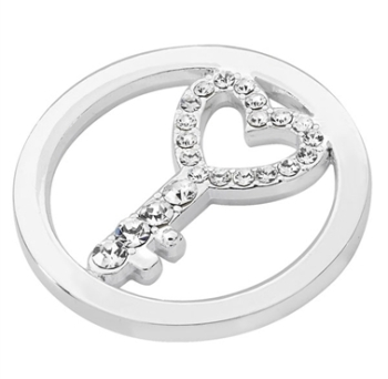 Silver Plated Cut Out CZ Key Coin