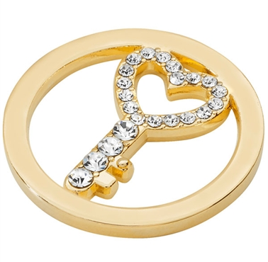 Gold Plated Cut Out CZ Key Coin