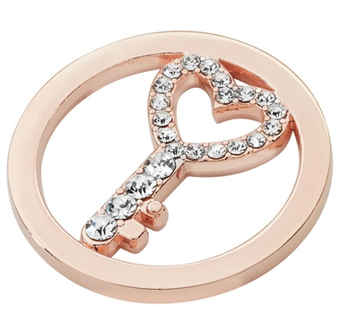 Rose Gold Plated Cut Out CZ Key Coin