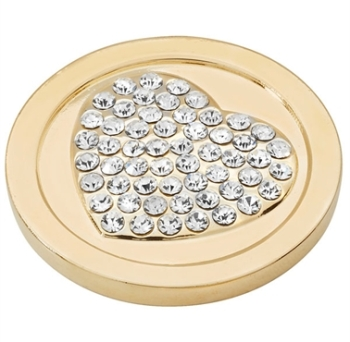 Gold Plated CZ Heart Coin