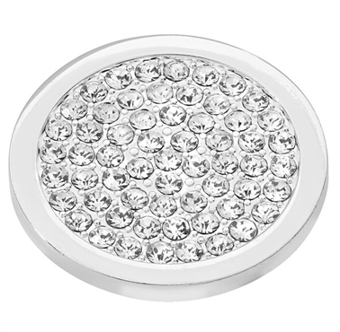 Silver Plated Clear CZ Covered Coin