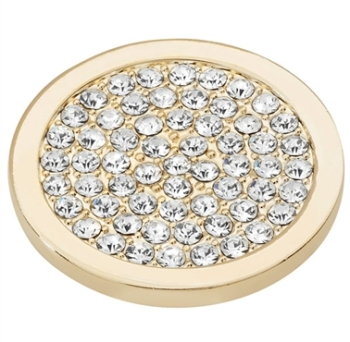 Gold Plated Clear CZ Covered Coin