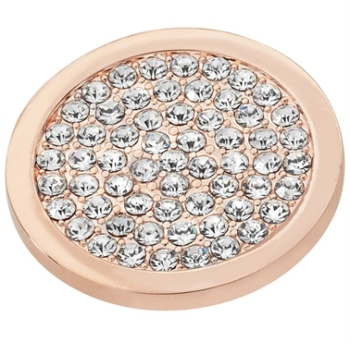 Rose Gold Plated Clear CZ Covered Coin