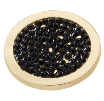 Gold Plated Black CZ Covered Coin
