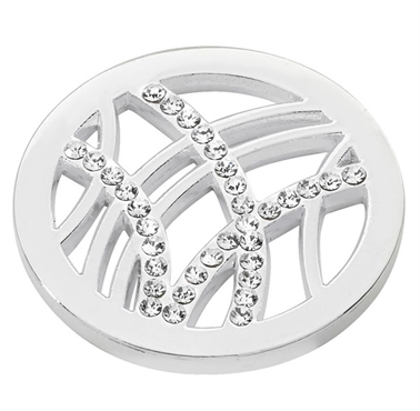 Silver Plated Line& CZ Detail Coin