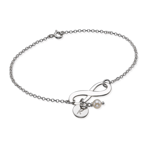Infinity Initial Sterling Silver Bracelet