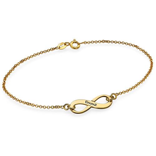 Engraved 18K Gold Plated Infinity Bracelet