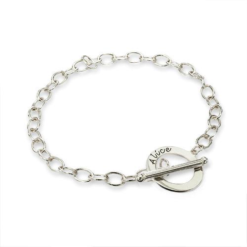 Engraved Sterling Silver T Bar Bracelet