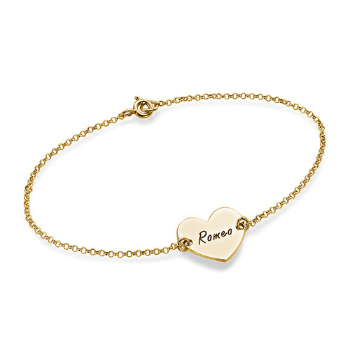 Heart Engraved Gold Plated Bracelet