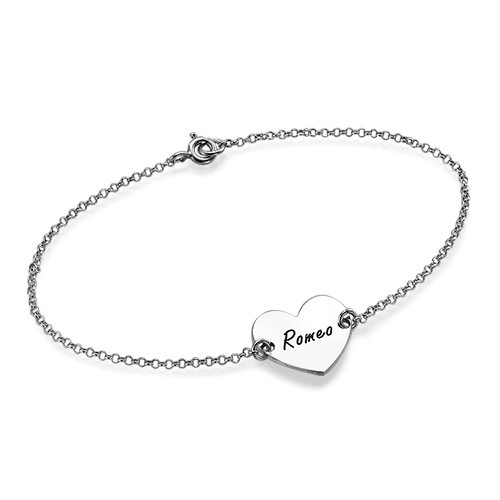 Heart Engraved Sterling Silver Bracelet
