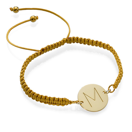 Gold Plated Initial Disc Shamballa Bracelet