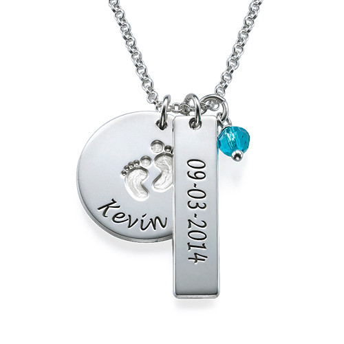 Baby Feet Name& Date Charm Necklace