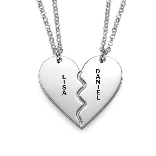 Engraved Broken Heart Sterling Silver Necklace Set