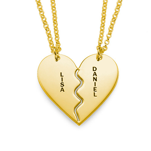 Engraved Broken Heart Gold Plated Necklace Set