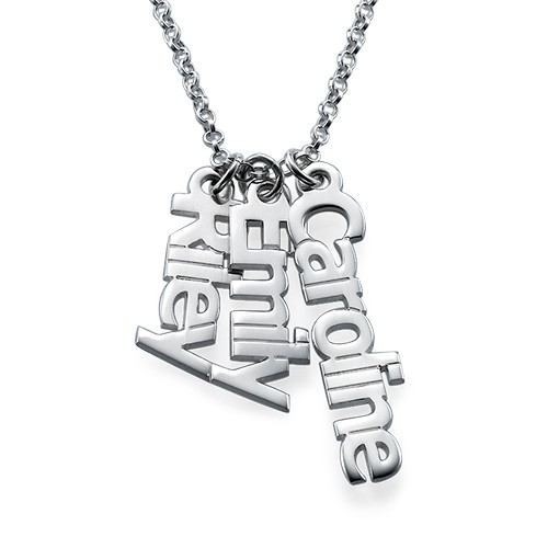Sterling Silver Multiple Name Pendant Necklace